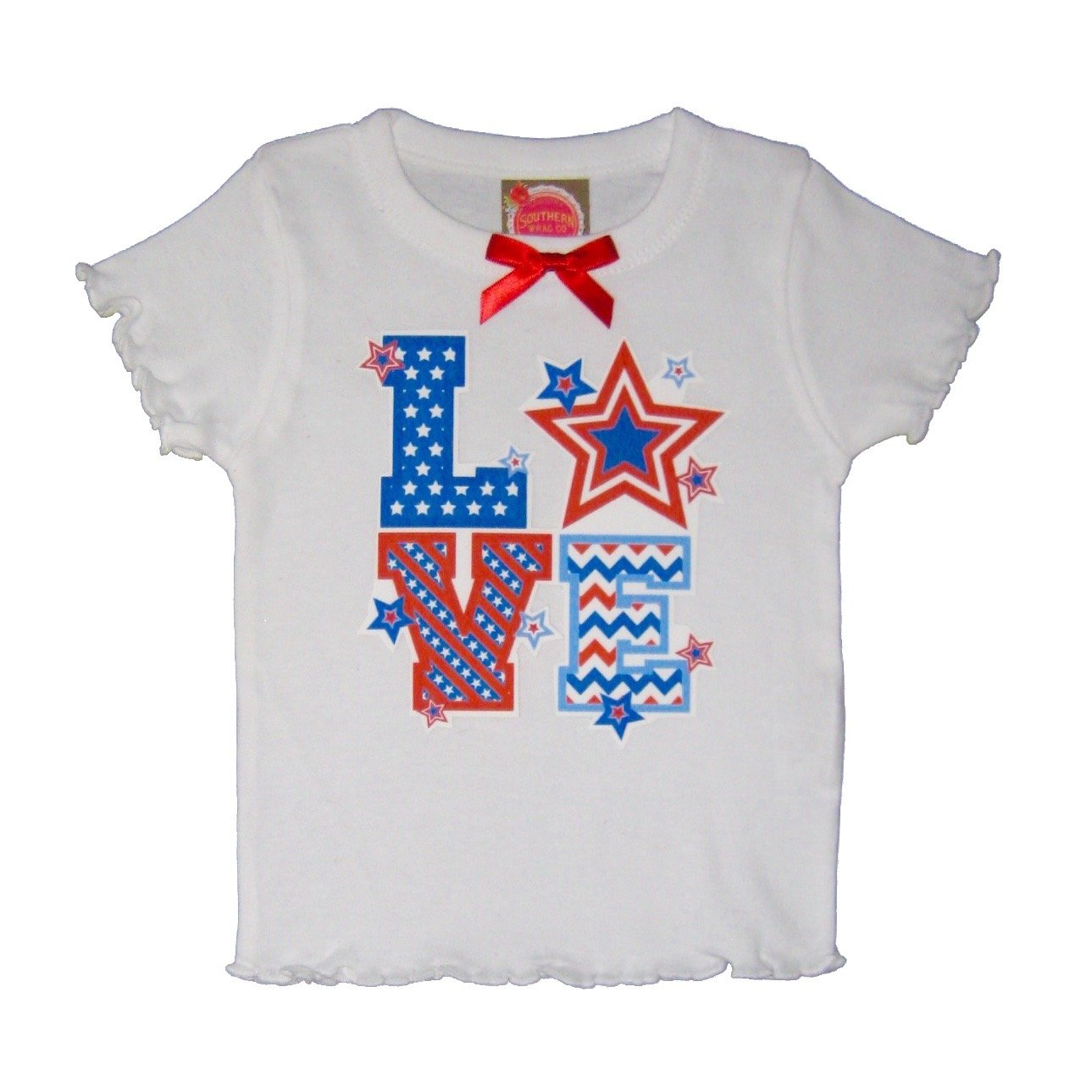 Southern Wrag Company Little Girls' 4th Of July Top Love Box (2T)