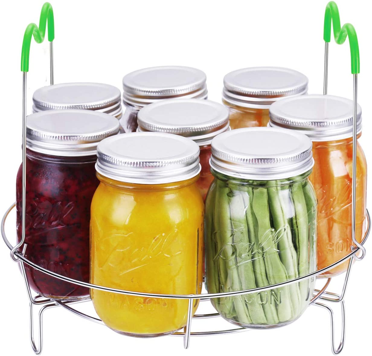 QMT Canning Rack, Stainless Steel Canning Jar Rack with Silicone Handle, Steamer Rack for Water Bath Canning and Pressure Canning, Fit for Kinds of Jars, 11.6 Inch Green Canner Rack (No Jars)