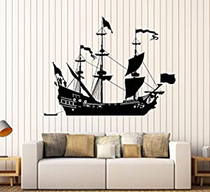 FirstDecals Vinyl Wall Decal Ship Sail Boat Sailor Sea Style Home Decor Stickers Large Decor (1045LK)