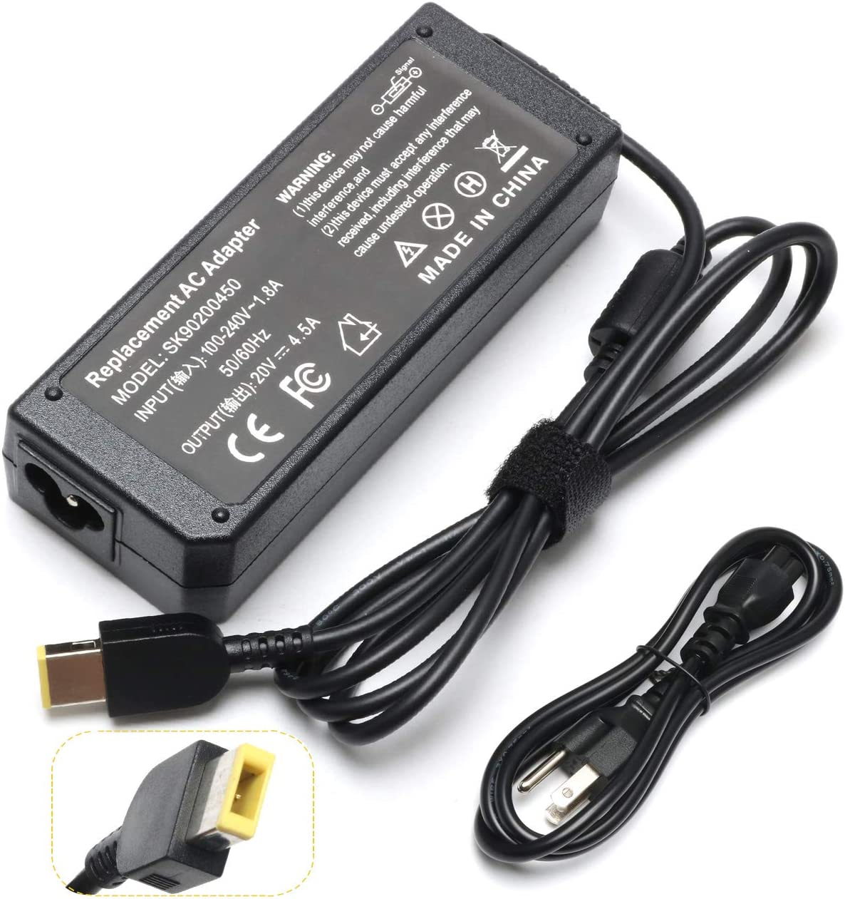 90W 20V 4.5A AC USB Adapter Laptop Charger Compatible with Lenovo Ideapad S210 S215 U330 U330P U430 U430P U530 Z410 Z510 ThinkPad X1 Carbon Touch Ultrabook 45N0237 344428U 344425 PA-1900-72