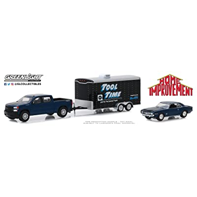 Greenlight 1:64 Hollywood Hitch & Tow Series 7 - Home Improvement (1991-99 TV Series) - 2020 Chevrolet Silverado with 1969 Chevrolet Camaro SS in Enclosed Car Hauler 31080-C: Toys & Games