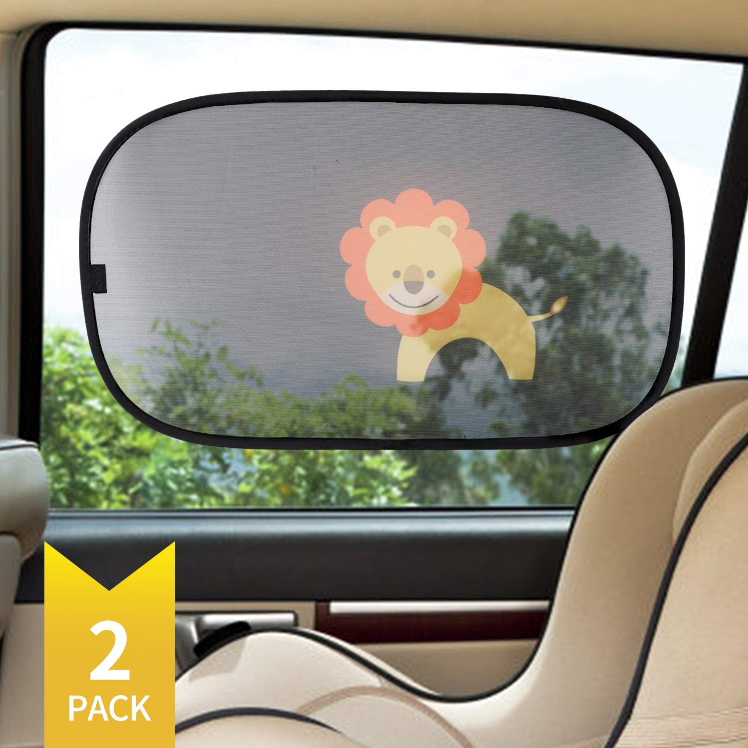 CitiGo Car Window Sun Shade (2 Pack) - UV Ray/Car Lighting/Glare Protection for Baby and Kids - Cartoon Style of Lion - Transparent Vehicle Sunshades Lihui