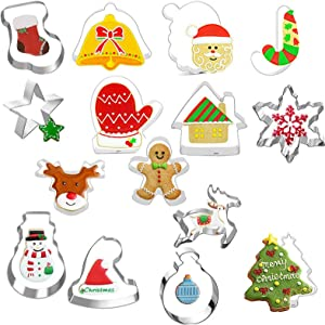 Holiday cookies cutters Set 15-PCS Christmas cookie Cutter-Christmas tree/Santa Claus/Snowman/Star/Elk/Bell/Christmas hat and More (Silver)