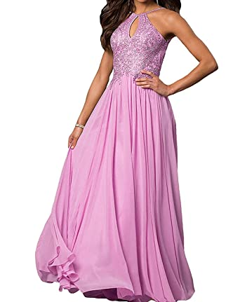 Ladsen Halter Neck V Back Prom Dresses Beaded Appliques Chiffon Evening Gowns L162 Pink US10 Size