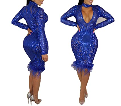 Women SexyV Neck Dress Halter Long Sleeve Sheath Sexy Club Midi Dress Vestidos,Dark Blue