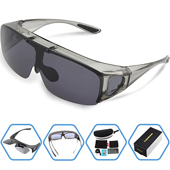773d084ed2 Torege Flip Up Fit Over Sunglasses with Side Shields Polarized Lenses for Driving  Fishing Hunting (6201 Transparent Grey)  Amazon.in  Clothing   Accessories
