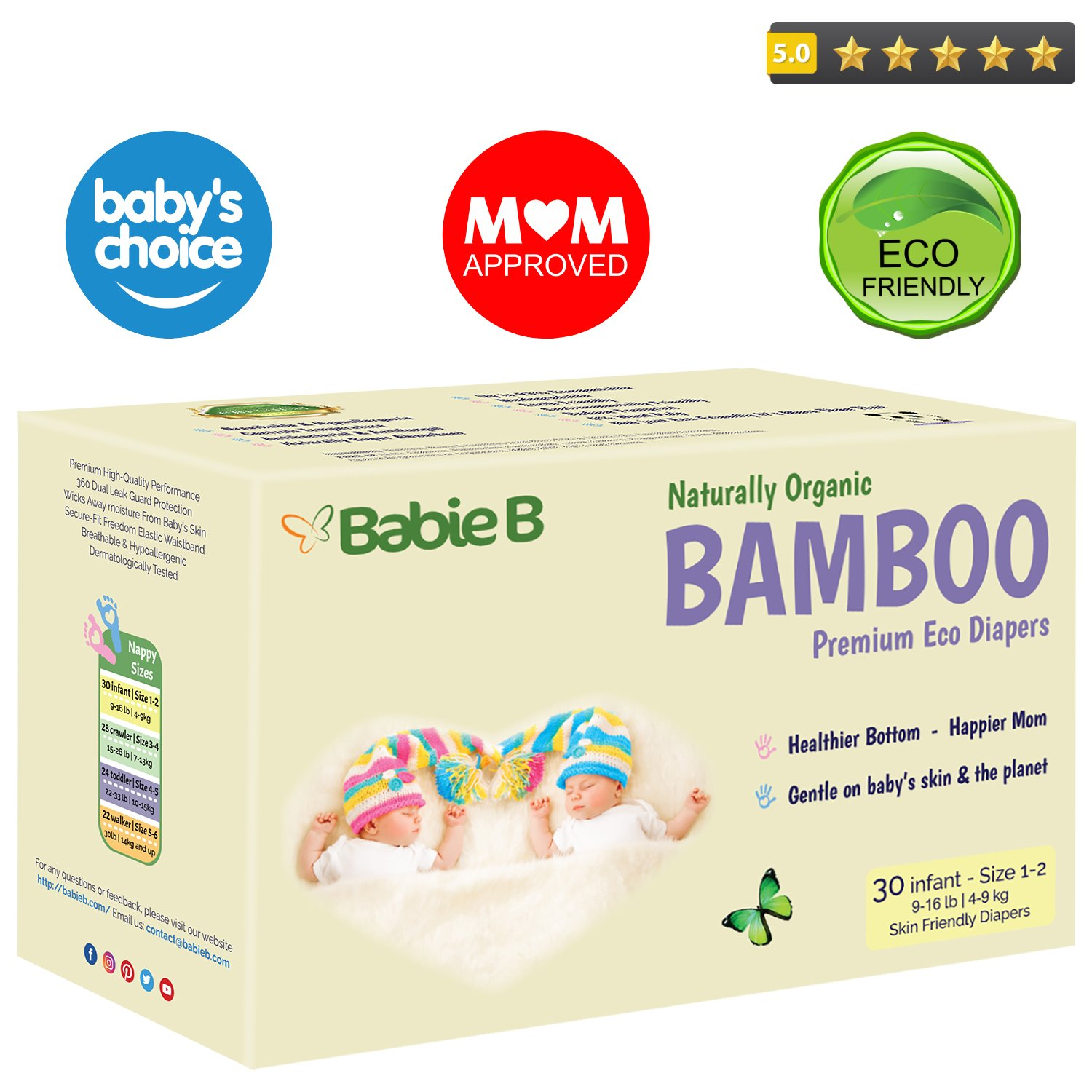 Best Bamboo Diapers   Eco-Friendly Hypoallergenic   Silky Soft w/Wetness Indicator Wicks Away Moisture to Keep Your Baby Dry & Happy   Premium High Quality   Size 1-2   9-16lb 30ct for Sensitive Skin
