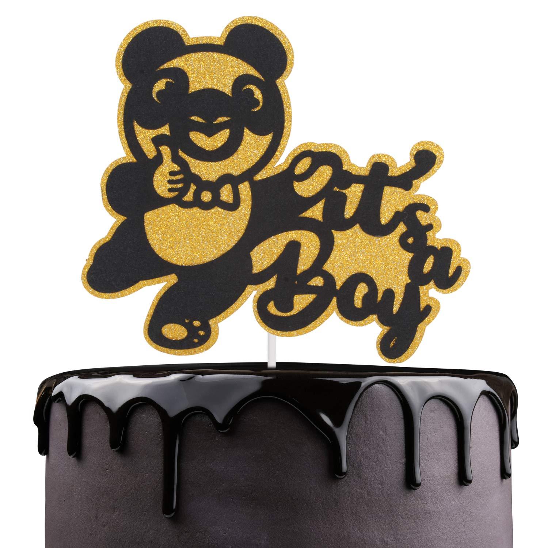 Peachy Its A Boy Birthday Cake Topper Cute Gold Glitter Panda Bear Birthday Cards Printable Nowaargucafe Filternl