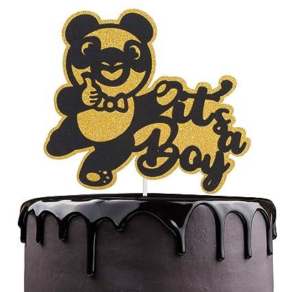Magnificent Its A Boy Birthday Cake Topper Cute Gold Glitter Panda Bear Funny Birthday Cards Online Inifofree Goldxyz