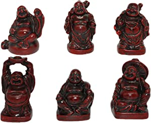 Feng Shui 2'' Red Resin Laughing Buddha Statue Figurines Set of 6 BS001
