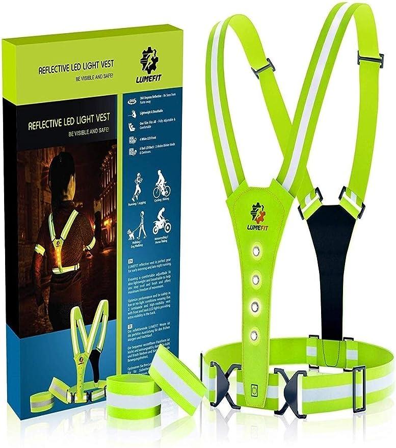 Lumefit High Visibility Vest Reflective Vest Safety Vest Reflective Running Vests With Armbands High Vis For The Safety Of Children Women Men Adjustable 8 Bright Leds Yellow Sport Freizeit