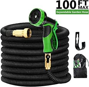 Kugoplay 100 Feet Expandable Garden Hose - Pressure Expanding Water Hose with Leakproof Solid Brass Fittings, 9 Functions Flexible Expandable Hose with Double Latex Core Extra Strength Fabric