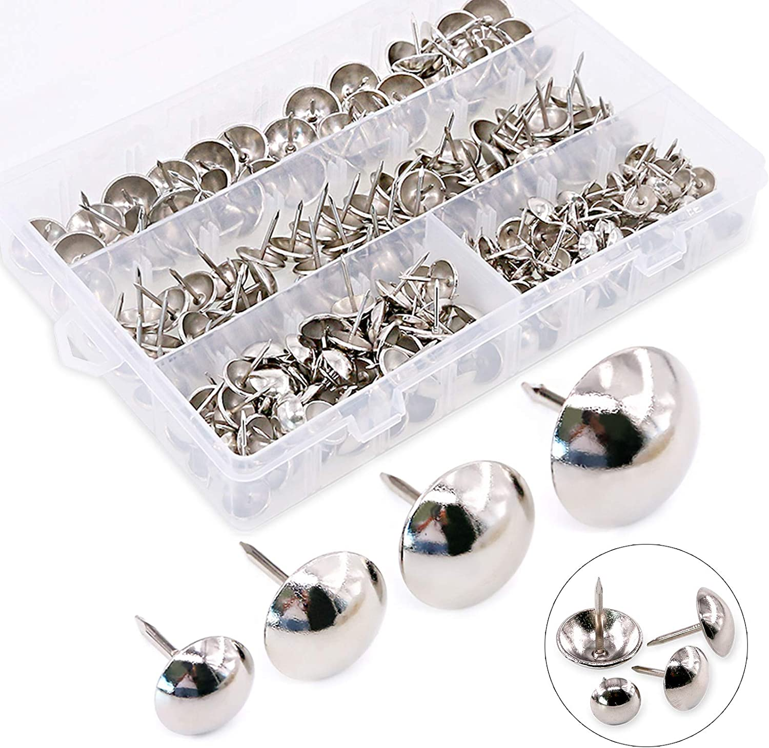 Hilitchi 280-PCS Silver [4-Size] Antique Upholstery Nails Tacks Furniture Tacks Upholstery Tacks Thumb Tack Push Pins Assortment Kit - Size Include: 7/16'' 9/16'' 5/8'' 3/4''