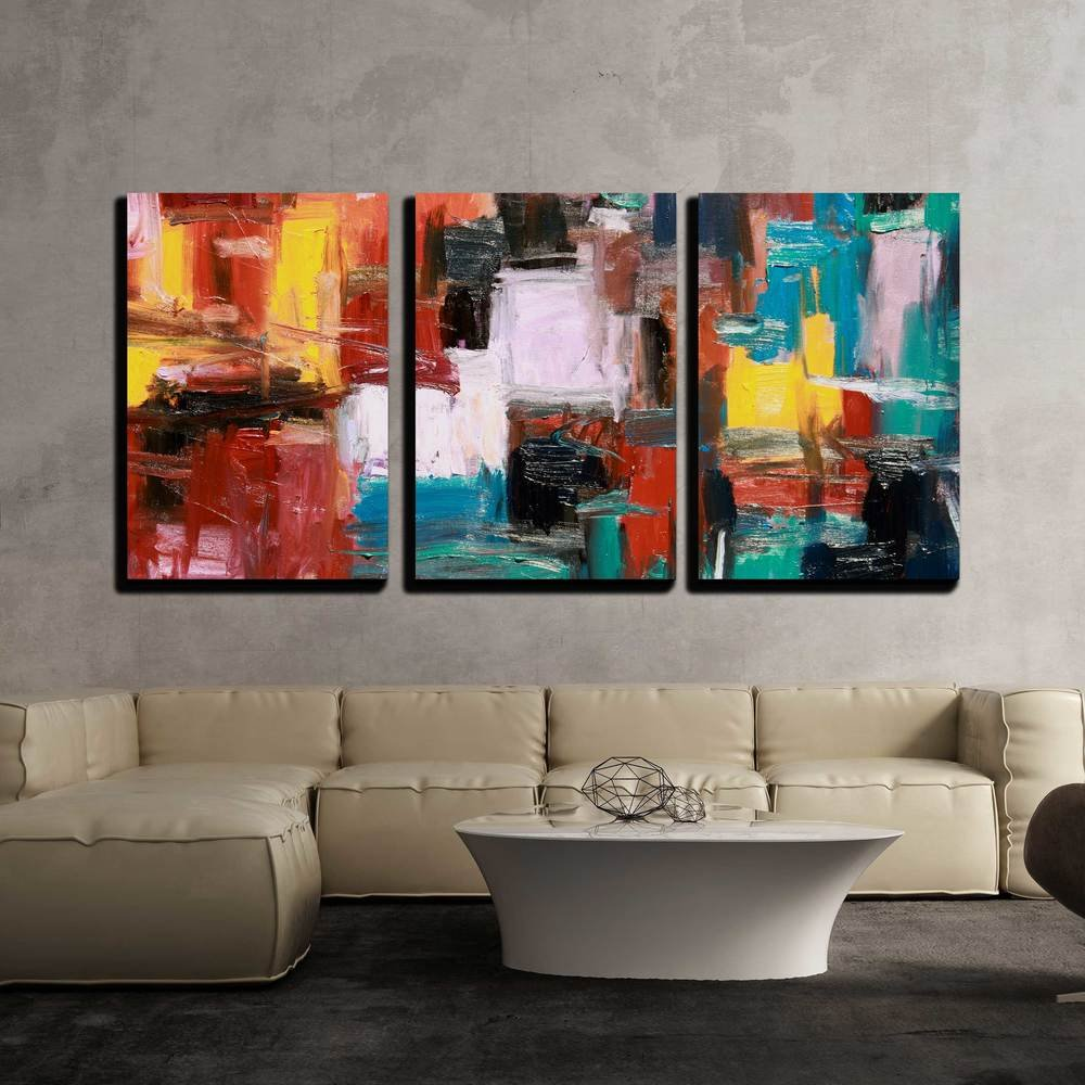 Amazon com wall26 3 piece canvas wall art abstract painting modern home decor stretched and framed ready to hang 24x36x3 panels posters prints