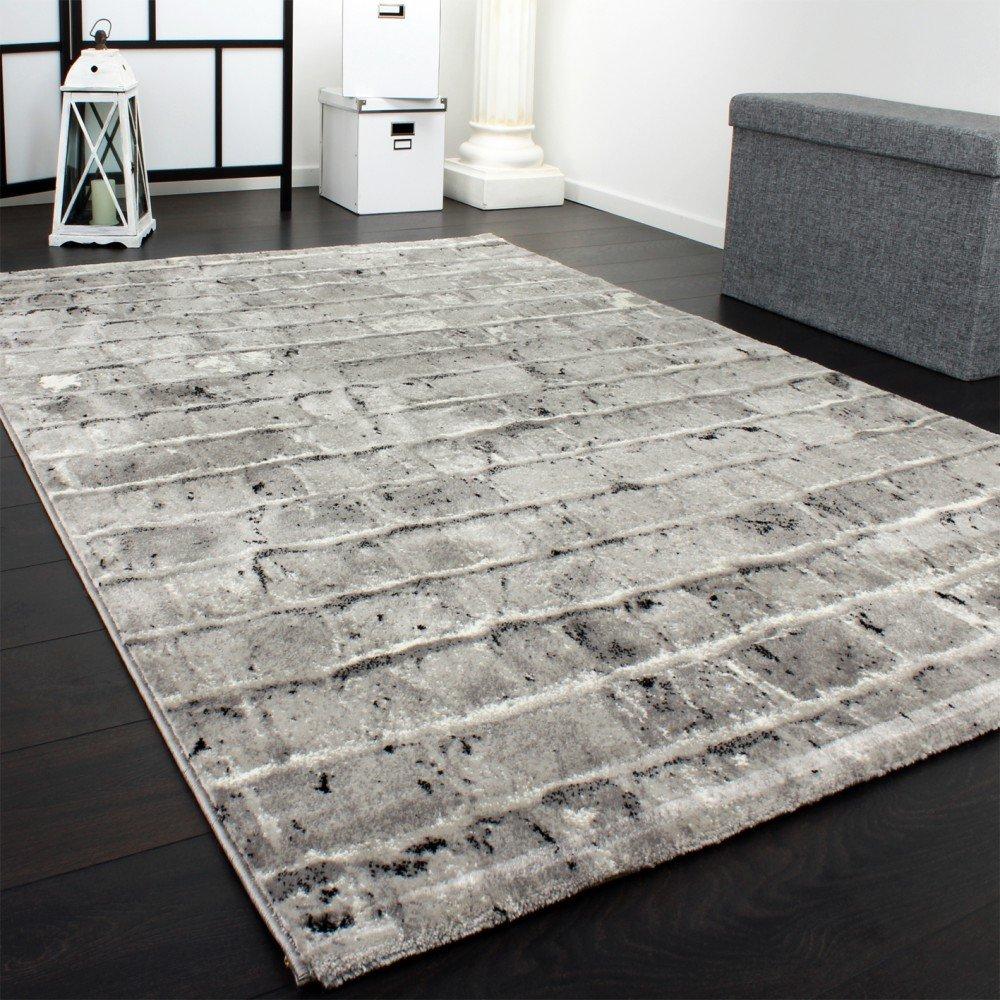 PHC Edler Designer Teppich Mit Steinwand Optik In Grau Schwarz Meliert,  Grösse:160x230 Cm: Amazon.de: Küche U0026 Haushalt