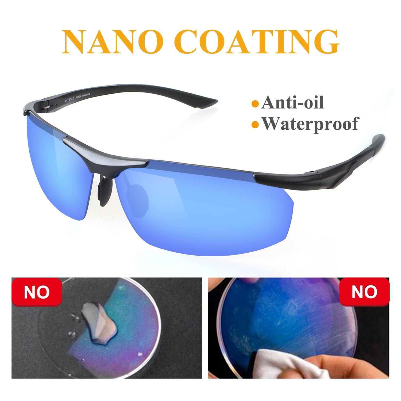 GlobaLink Sport Sonnenbrille Radsportbrille Sportbrille Al-Mg Legierung Rahmen mit 100% UV400 Schutz für Herren - Silber vH2Lt