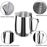 Joyevic Milk Frothing Pitcher Cappuccino Pitcher Pouring Jug Espresso Cup Creamer Cup for Latte Art, 12 Ounce (350 ML)