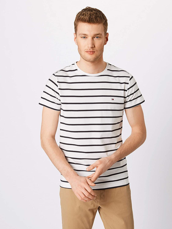 Tommy Hilfiger Herren T-Shirt Stretch Slim Fit Tee MW0MW09813