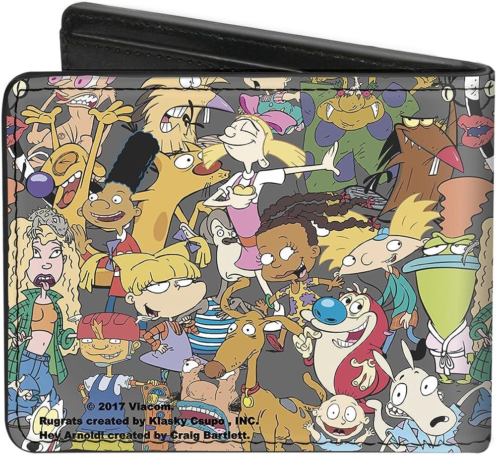 Nickelodeon Rugrats Hey Arnold Stimpy Characters Black ID  Card Bi-Fold Wallet