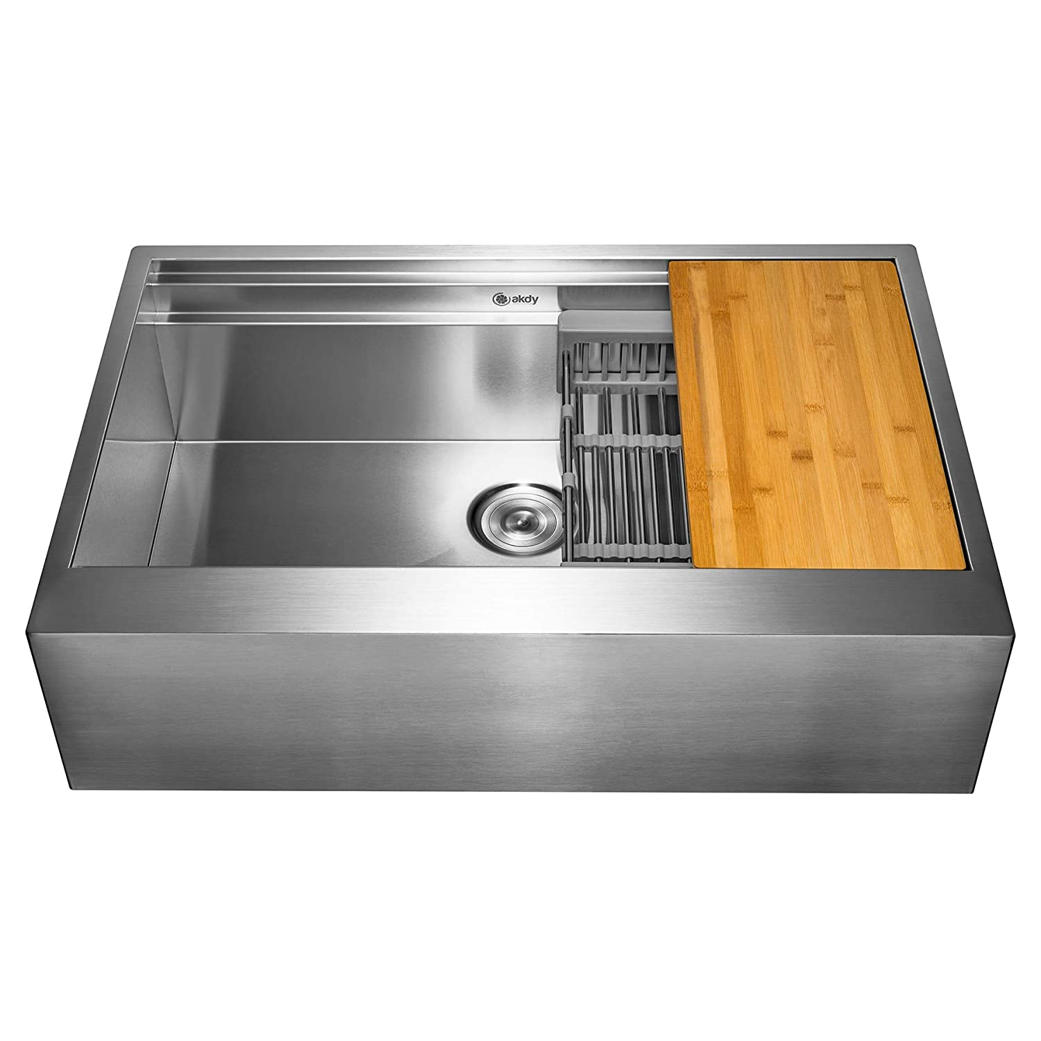 AKDY 30-Inch 30 x20 x9 Apron Farmhouse Handmade Stainless Steel Kitchen Sink- Single Bowl Space Saving Kitchen Sink – Kitchen Sink with Drain Strainer Kit Adjustable Tray and Cutting Board
