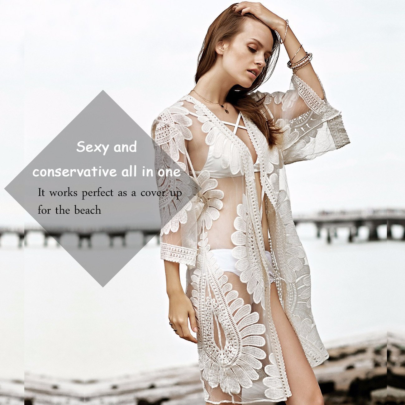 fc5dd8372d shermie Women's Floral Crochet Lace Beach Swimsuit Cover Ups Long Vintage  Kimono Cardigan (Beige) at Amazon Women's Clothing store: