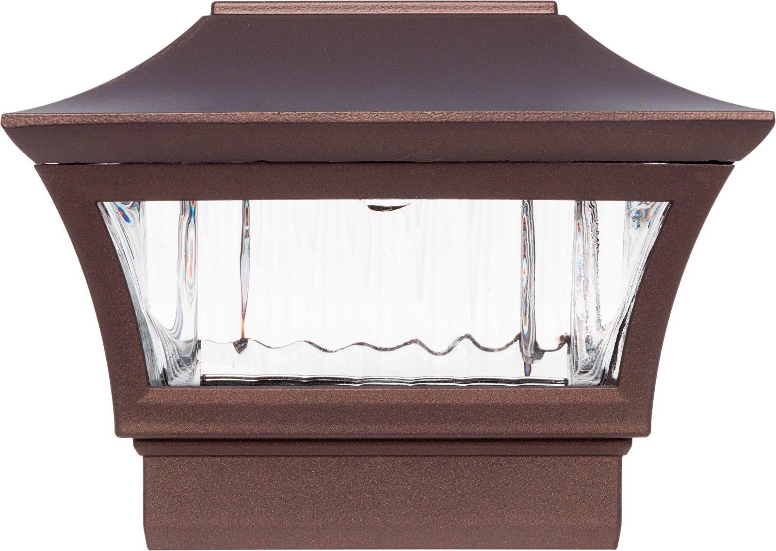 GreenLighting Aluminum Solar Post Cap Light - LED Light for 4 x 4 Wood or 5 x 5 PVC Posts (Bronze)