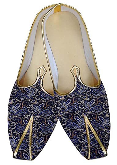 Mens Navy Blue Wedding Shoes Paisley Design MJ015601
