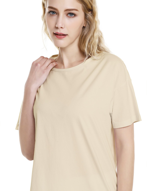 ZAN.STYLE Women's Plus Size Slub Cotton Tunic Tee Shirt Long T Shirt for Leggings X-Large Style 2-Light Khaki by ZAN.STYLE (Image #4)
