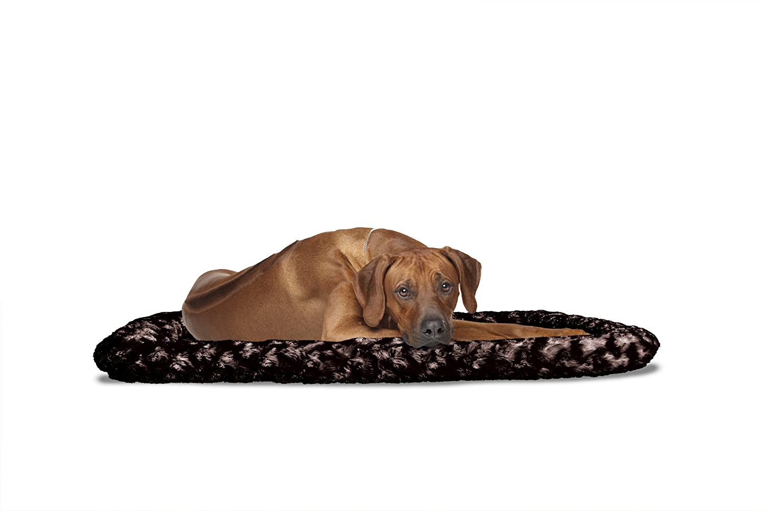 FurHaven Pet Kennel Pad   Ultra Plush Bolster Pet Bed for Kennels & Crates, Chocolate, X-Large