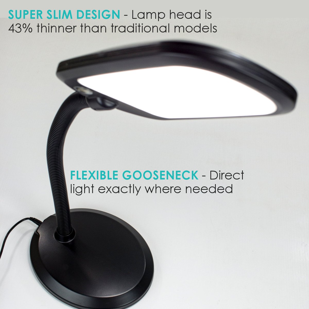 sunlight desk lamp natural full spectrum. HomeConcept LED201BK LED Bright Reader Natural Daylight Full Spectrum Desk Lamp New Slimmer Design, Black - Amazon.com Sunlight I