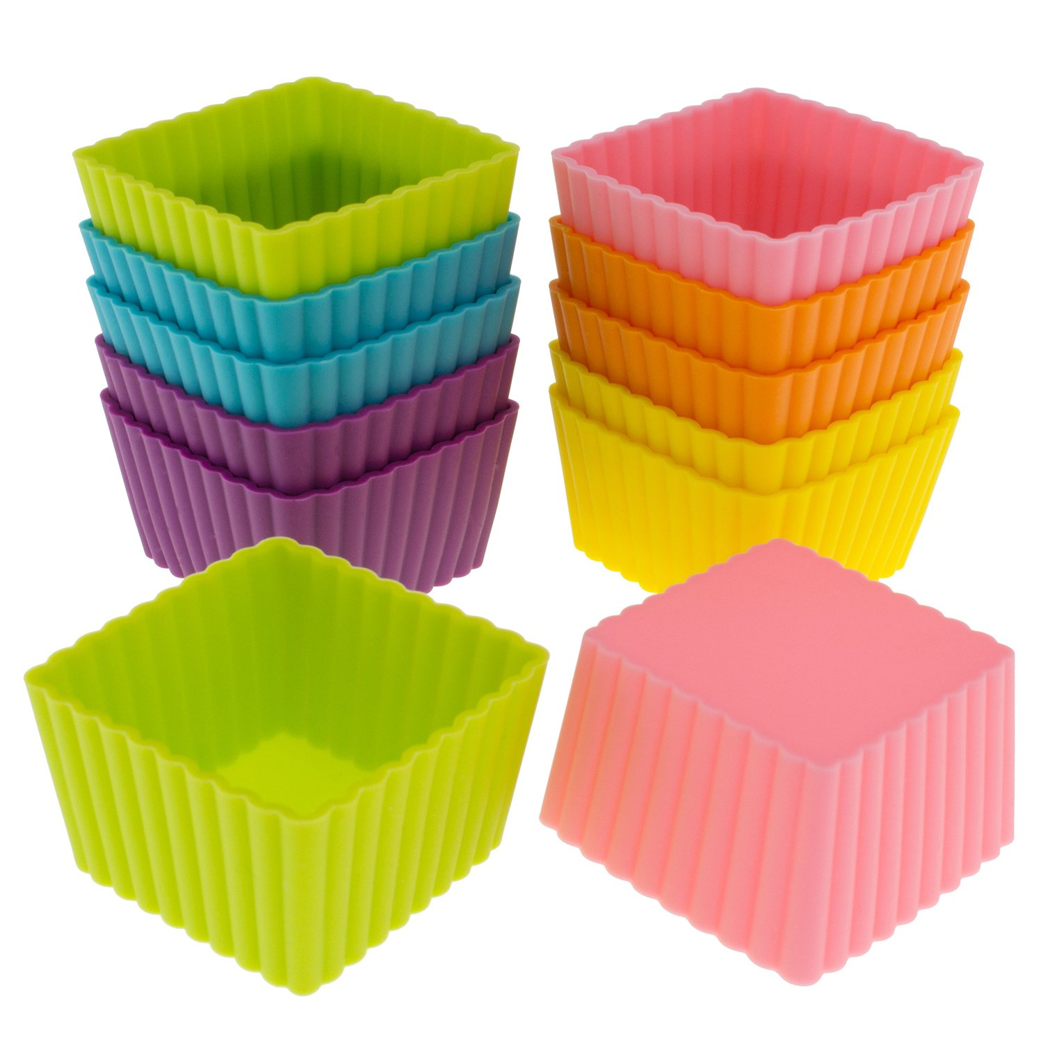 Freshware Silicone Cupcake Liners/Baking Cups - 12-Pack Muffin Molds, 1-6/8 inch Square, Six Vibrant Colors by Freshware