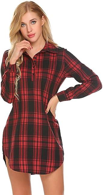 Camisón De Mujer Camisa A Cuadros Esencial Corta Vestidos De ...