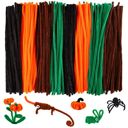 Caydo 320 Pieces Halloween Pipe Cleaners Chenille Stems 6mm X 12inch Chenille Stems For Diy Art Craft Decorations Black Brown Dark Green Orange