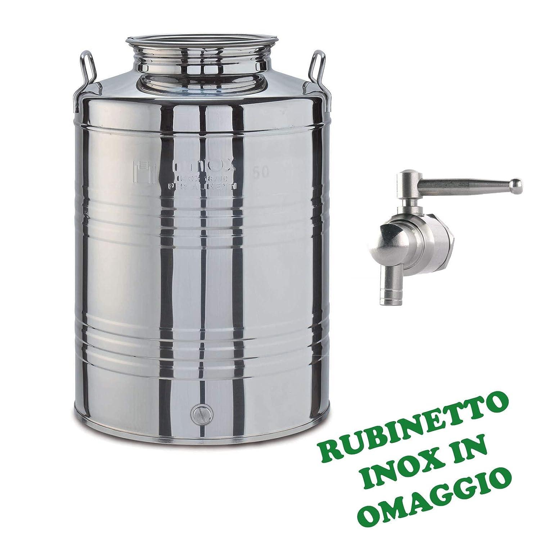 Milo srl CONTENITORE BIDONE FUSTO OLIO ACCIAIO RUBINETTO INOX 18//10 OMAGGIO FUSTINO FUSTINI 15 LT