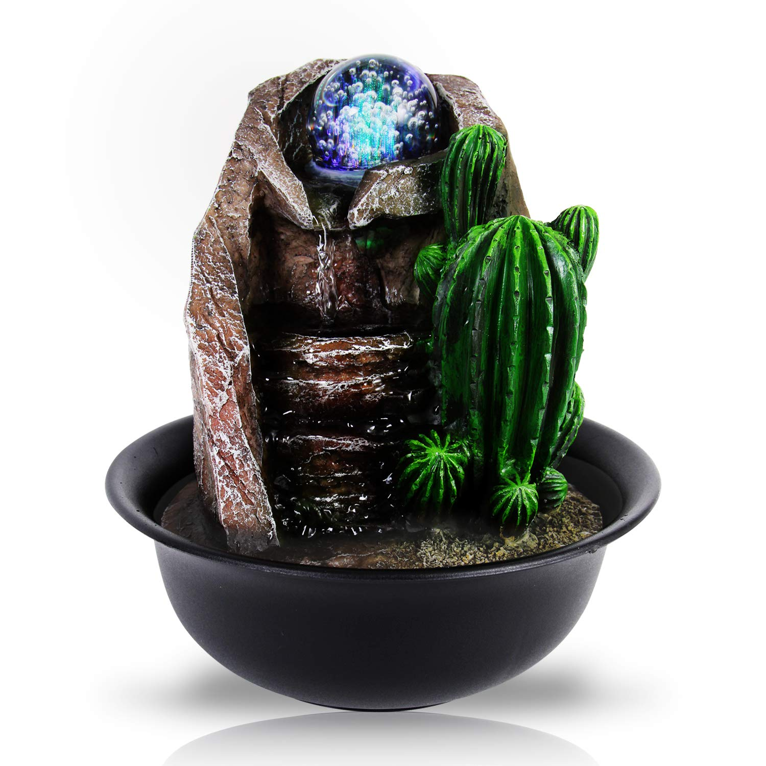 Electric Tabletop Water Fountain Decor - Desktop Decoration w/Illuminated Crystal Ball Accent, Indoor Outdoor Decorative Waterfall Kit Includes Submersible Pump, 12V Adapter - SereneLife