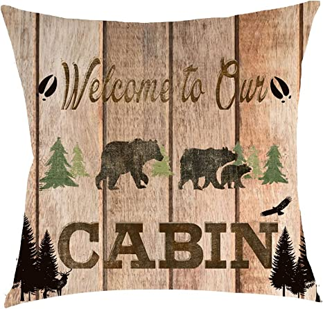 Wild Animal Bear Linen Square Throw Waist Pillow Case Decorative Cushion Cover