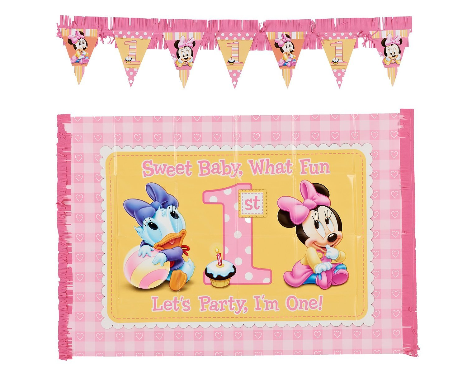 Amazon.com : 2-Piece Minnie\'s 1st Birthday High Chair Decoration Kit ...