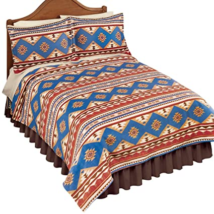 Collections Etc Southwest-Inspired Aztec Design Fleece Coverlet Bedding -  Colorful Bedroom Decor, Brown Multi, King