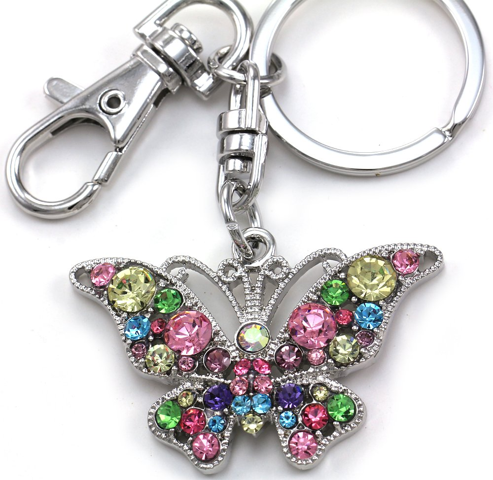 Gorgeous Multicolor Colorful Butterfly Animal Lover Keychain Key Ring Charm