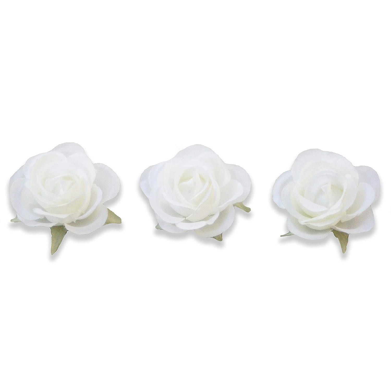 Amazon Com Pack Of Three 4cm 1 57 In White Rose Flower Hair