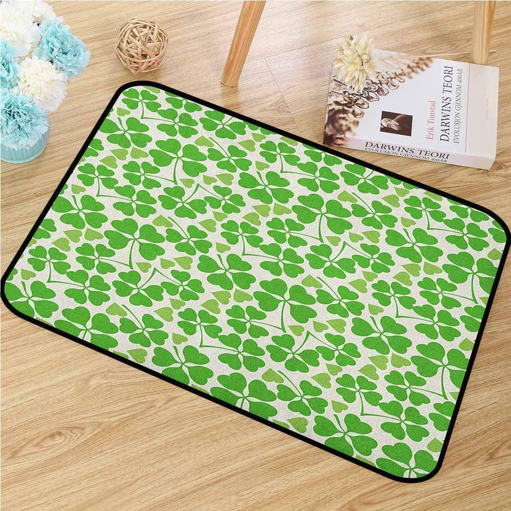 Irish Welcome Door mat Gaelic Nature Garden Theme Spring Clovers with Cute Hearts Freshness Door mat is odorless and Durable W47.2 x L60 Inch Lime Green Pistachio White
