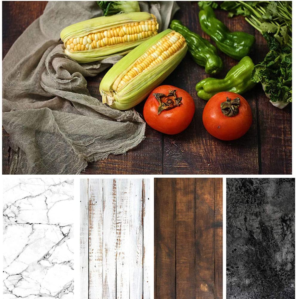 Bcolor Food Photography Backdrop Paper 4 Pack Kit 22x34Inch/ 56x86cm Double Sided Photo Background Roll Marble Wood Flat Lay for Product Jewelry Tabletop Props Pictures, 8 Patterns