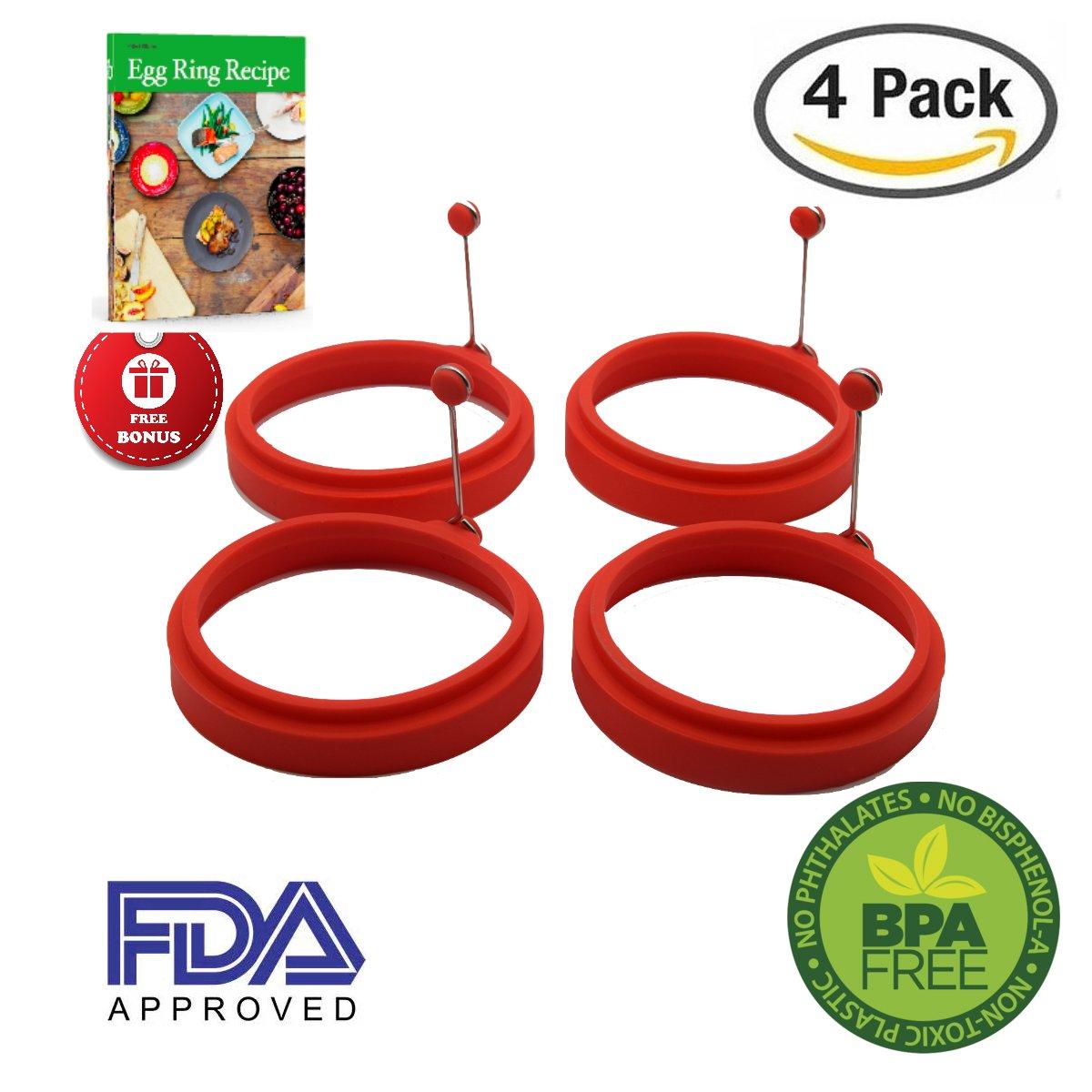 Array - piatelli kitchen silicone bpa free non tick egg ring with guide   red  rh   amazon com