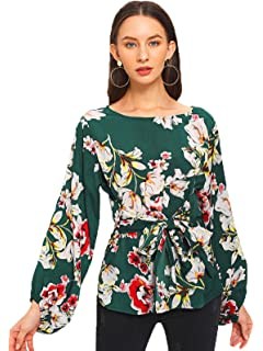 455d363fa6d Romwe Women's Floral Print Long Sleeve Self tie Waist Knot Blouse Top