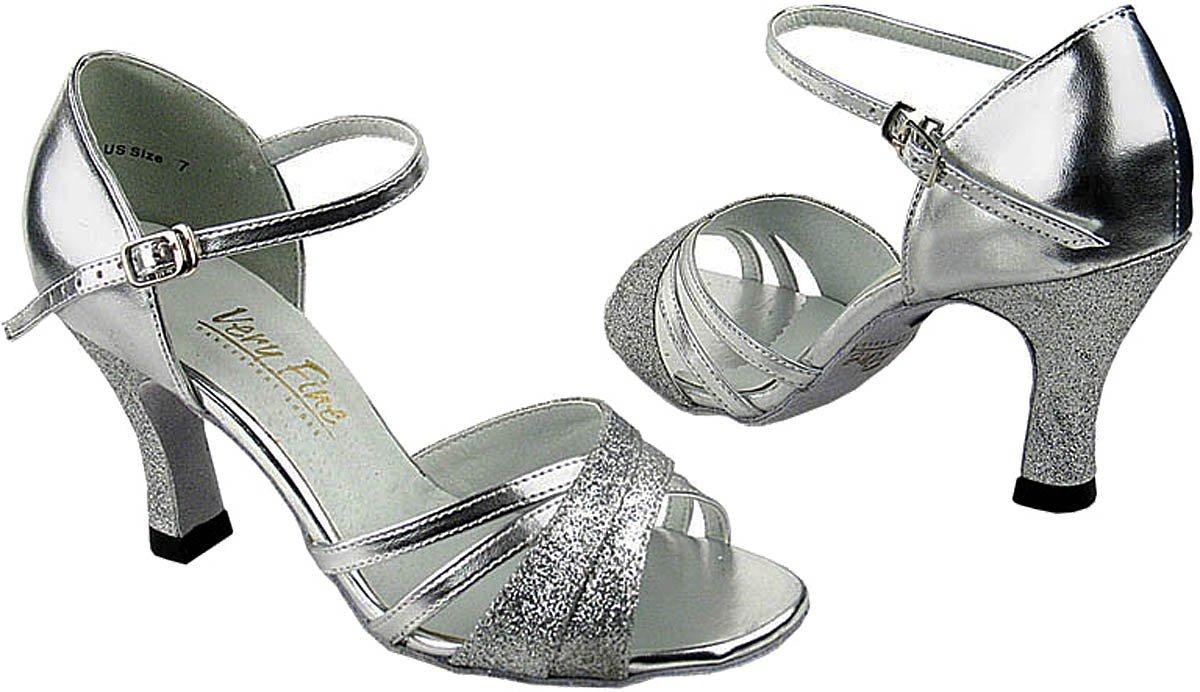 Very Fine Women's Salsa Ballroom Tango Latin Dance Shoes Style 6030 Bundle with Plastic Dance Shoe Heel Protectors,Color Silver, Size:10