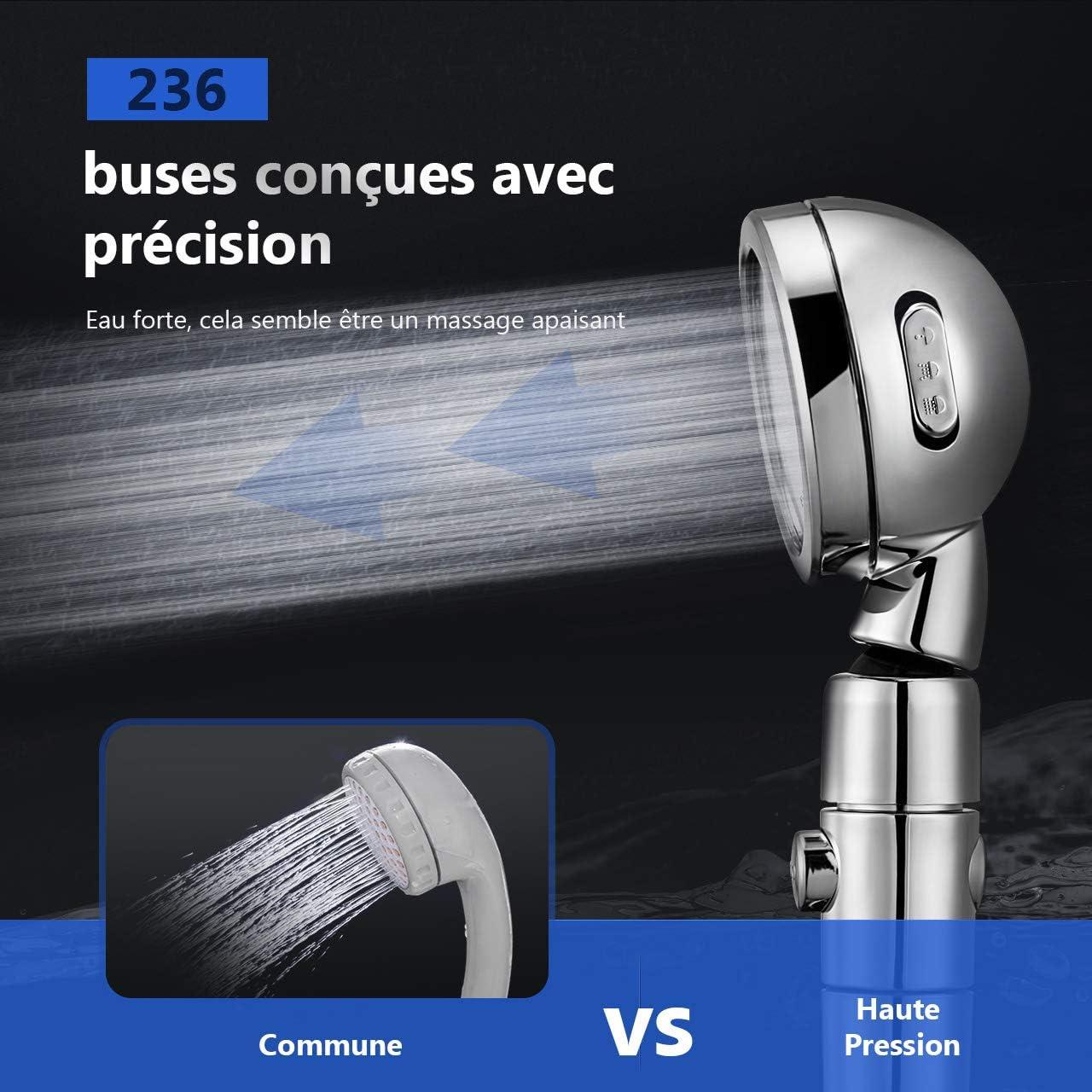 Homitt Pommeau de Douche /Économique Rotation /à 360 /°avec 3 Modes de Douche /Économie 70/% dEau Douchette /Écologique Convient /à Salle de Bain Douchette /à Mains Pommeau de Douche Pression