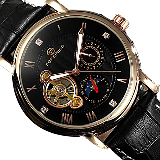 Male Automatic Mechanical Skeleton Watch Casual Sport Freewheel Tourbillon Watch