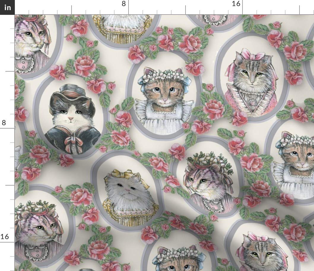 Eco Canvas Fabric Yard Eco Canvas Fabric Yard Victorian cat Portraits Fabric Victorian Victorian Cute Vintage Cat Victorian pinks White Cat Cat in Clothes Cat with Ribbon by Lacy and JoJo Printed on Eco Canvas Fabric by The Yard