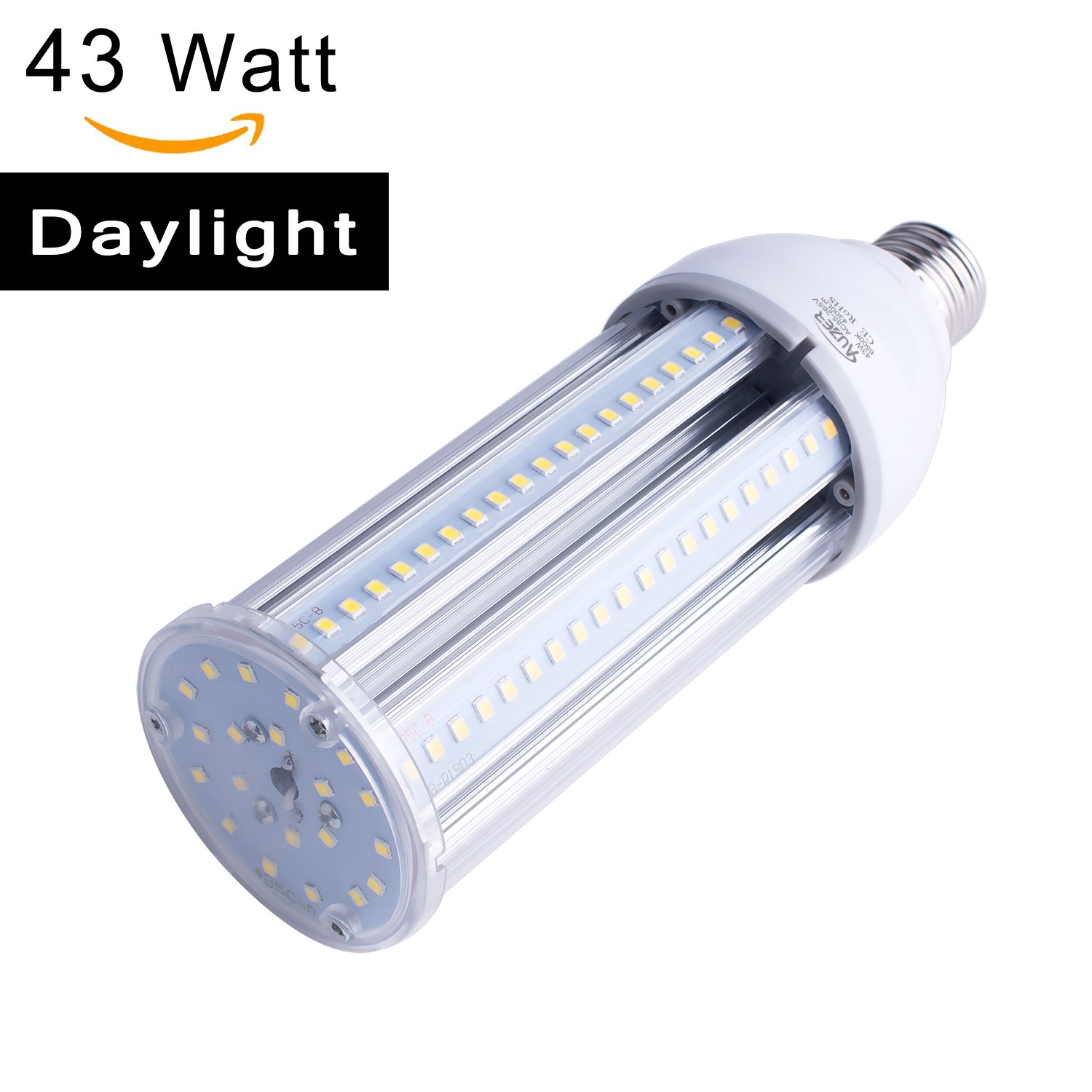 43 Watt LED Corn Bulb Street Light,4300 Lumen 290 Watt Equivalent 6500K,Cool Daylight White LED Area Light,E26 Medium Screw Base,For Indoor Garage Factory Warehouse Barn Backyard,Super Bright,85V-265V