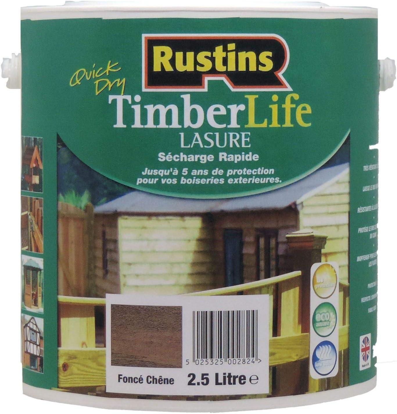 Rustins (TLLO2500) - Tinte para madera - exterior - UV y 5 AÑOS de protección - Roble claro - 12m²/L - 2.5 Litres